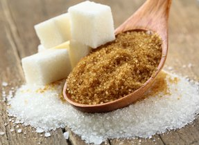 Brown sugar and sugar cubes.