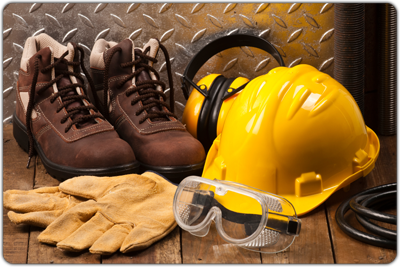 Image of protective boots, a hard hat, ear coverings, gloves, and goggles.