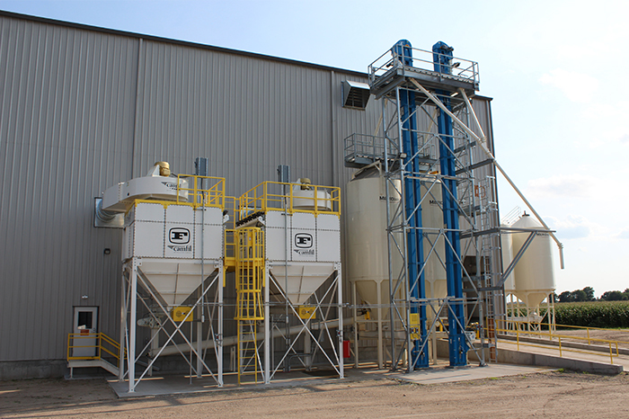 The dust control system keeps this plant clean and safe with pickup points at each processing step, transfer point and surge bin.